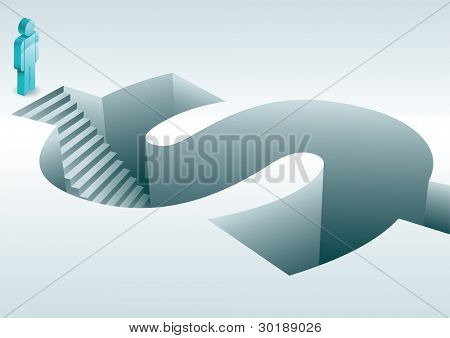 Steps into dollar sign. Human figure stood at top of steps descending into three dimensional dollar sign. Elements are layered separately in vector file. Easy editable.