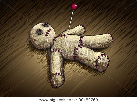 Voodoo doll hand drawing vector illustration. All elements are layered separately.