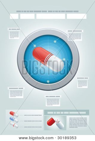 Vector pharmaceutical presentation template. Easy editable CMYK vector file.