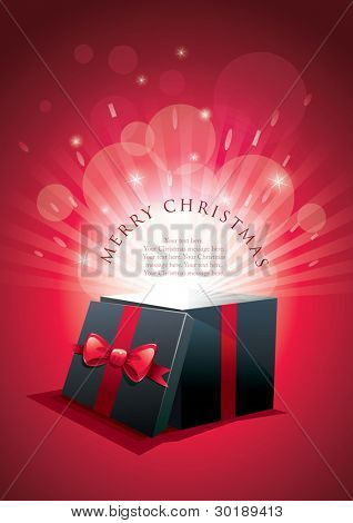 Vector illustration of exploding gift box. Merry Christmas message. Elements are layered separately in vector eps10 file. CMYK color mode
