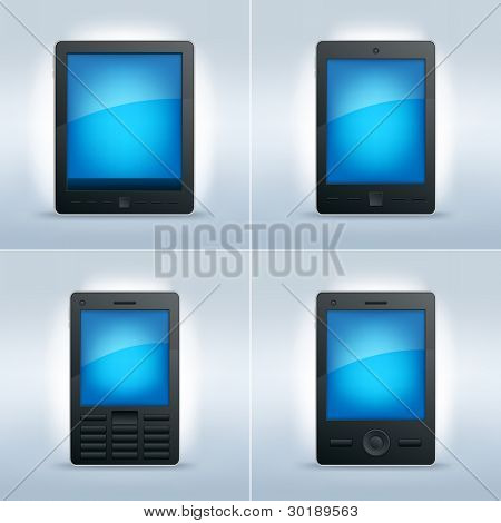 Touch screen tablet pc, pda, mobile phone and smart phone set. Vector illustration. All elements are layered separately.