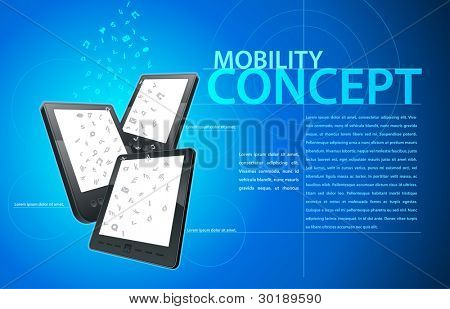 Mobility communication template. Elements are layered separately in file. Vector illustration.