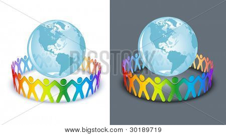People of circle for the World. All elements are layered separately in vector file.