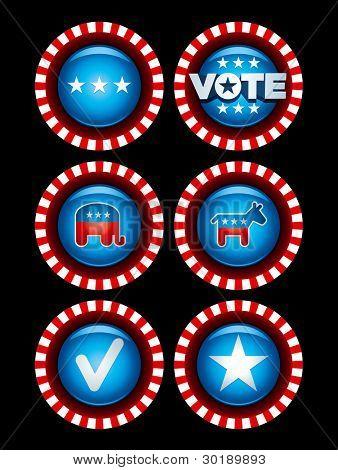 Election Badges. Vector Symbol Set