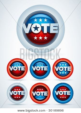 Vote Badges. Vector Symbol Set