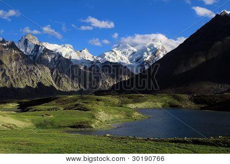 Darung Drung Glacier And Lake High In Himalayas