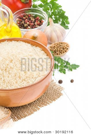 rice in plate isolated on white background