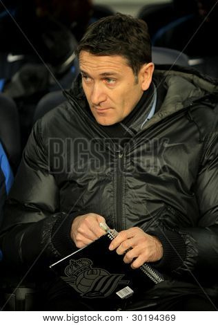 BARCELONA - FEB 4: Philippe Montanier of Real Sociedad in action during the Spanish league match against FC Barcelona at the Camp Nou stadium on February 4, 2012 in Barcelona, Spain