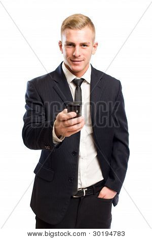 Handsome Young Businessman On Mobile Phone.