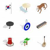 Korean Spirit Icons Set. Isometric Set Of 9 Korean Spirit Icons For Web Isolated On White Background poster
