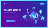 Smart Home System Concept. 3d Isometric Remote House Control System. Iot Concept. Smart Home Connect poster