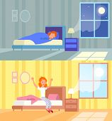 Vector Illustration Of Woman Sleeping At Night And Waking Up Morning. Sleep In Comfy Bed Concept, Go poster
