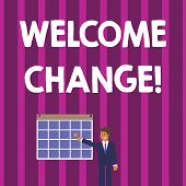 Word Writing Text Welcome Change. Business Concept For To Accept With Pleasure The Occurrence Longaw poster