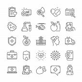 Medical Rx Line Icons. Ambulance, Hospital Assistance, Health Food Diet, Laboratory Tubes Icons. Fir poster