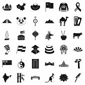 Monument Icons Set. Simple Style Of 36 Monument Icons For Web Isolated On White Background poster