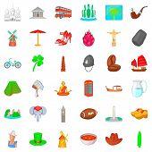 Landmark Icons Set. Cartoon Style Of 36 Landmark Icons For Web Isolated On White Background poster
