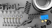Auto Parts Spare Parts Car On The Grey Background. Set With Many New Items For Shop Or Aftermarket.  poster