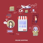 Pone Store Vector Shopping Concept, Buying Online And E-commerce Poster, Online Shop And Shopping El poster