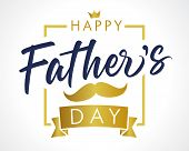 Happy Father`s Day Vector Golden Lettering Background. Fathers Day Calligraphy Light Banner. Dad My  poster