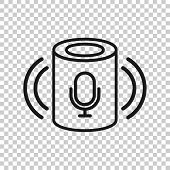 Voice Assistant Icon In Transparent Style. Smart Home Assist Vector Illustration On Isolated Backgro poster