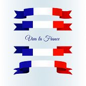 Ribbon Icons Flag Of France On A Light Background Set Brochure Banner Layout With Wavy Lines Of Fren poster
