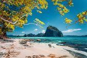 Beautiful Landscape Scenery Of El Nido Coastline. Unique Amazing Pinagbuyutan Island In Background F poster