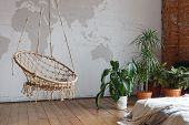 Modern Comfortable Bedroom Interior With Green Houseplants And A Swing, Loft Furnished. Unusual Inte poster