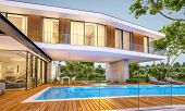 3D Rendering Of Modern House On The Hill With Pool In Evening poster