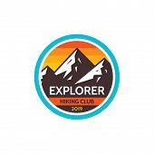 Explorer Adventure Outdoors - Concept Badge. Mountain Climbing Logo In Flat Style. Extreme Explorati poster
