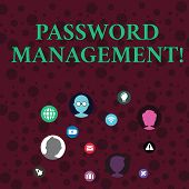 Conceptual Hand Writing Showing Password Management. Business Photo Showcasing Software Used To Help poster