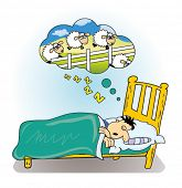 image of counting sheep  - Man sleeping while counting sheep - JPG