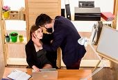 A Little Passion At Work. Love Affair Of Bearded Man And Sexy Woman In Office. Couple In Love Conduc poster