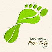 International Earth Day Illustration Of Carbon Footprint Concept. Green Papercut Leaves Making Foot  poster