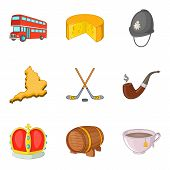 Europe Trip Icons Set. Cartoon Set Of 9 Europe Trip Icons For Web Isolated On White Background poster