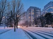 Scenic View Landscape Of Outdoor Winter City Town Toronto At Late Evening Night. Buildings, Houses,  poster