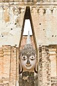 pic of chums  - The image of Phra Atchana the big image of Buddha in the mondop of Sri Chum temple the Sukhothai Historic Park Thailand - JPG