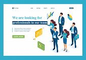 Isometric We Are Looking For Professionals For Our Team, Recruiting Concept. Template Landing Page. poster