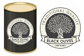 Label For Black Olives With Olive Tree And Ribbon In Retro Style On The Black Background. Vector Ill poster