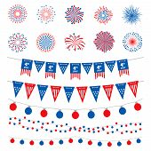 American Flag Color Banners, Garlands And Fireworks Vector Collection. Happy Independence Day, 4th J poster