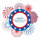 Happy Independence Day Vector Card With Fireworks. 4th July Banner Template. Illustration Of Indepen poster