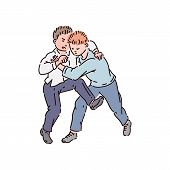 Boys Bullies Fight And Kick, School Bullying And Kids Fight. poster