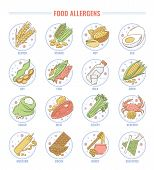 Food Allergen Set, Collection Of Gluten, Nut, Fish, Milk, Lactose, Edd, And Other Allergy Products I poster