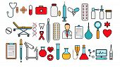 Medical Pharmaceutical Big Set Of Medical Items, Equipment, Items Of Icons On A White Background: Ta poster