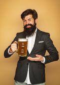 Beard Man Drinking Beer From A Beer Mug. Happy Smiling Man With Beer.senior Man Drinking Beer With S poster