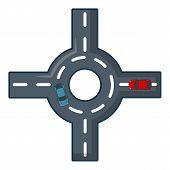 Circular Intersection Icon. Cartoon Illustration Of Circular Intersection Icon For Web. poster