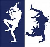 stock photo of jester  - silhouette of two jester - JPG