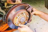 The Car Mechanic Is Checking The Brake System Of The Car, Brake System Of Old And Damaged Cars, Car  poster