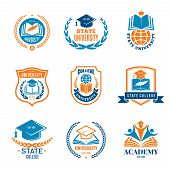University Badges. School Business Identity Quality Emblem College Vector Logo. Illustration Of Coll poster