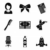 Stylist Icons Set. Simple Set Of 9 Stylist Icons For Web Isolated On White Background poster
