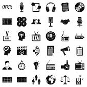 Multimedia Means Icons Set. Simple Set Of 36 Multimedia Means Icons For Web Isolated On White Backgr poster